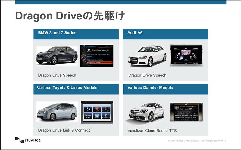 Nuance Dragon Driveは、単体のプラットフォームとしてすでに自動車メーカーに採用されている