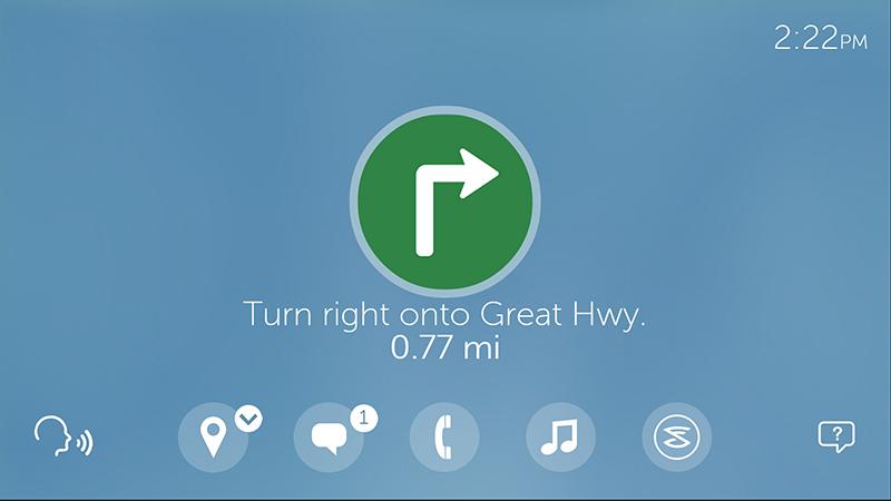 ターンバイターン表示のナビゲーション画面