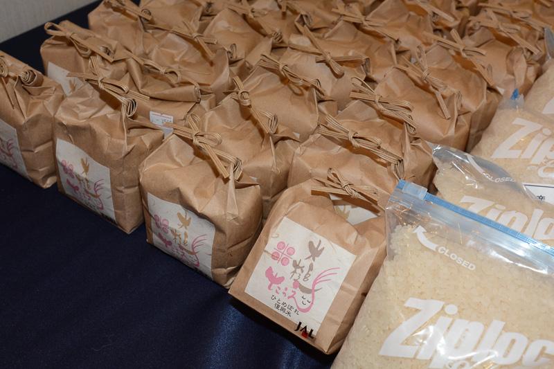 大槌町の復興米は震災を生き延びた3株から育てたもの。2014年11月~12月の2カ月間、JALの国内線ファーストクラスの夕食に提供されていた