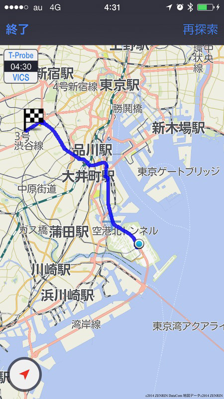 トヨタ自動車の「T-Connect」は中央環状品川線の開通区間を反映したルートを示す(写真は三軒茶屋→羽田空港のルート)