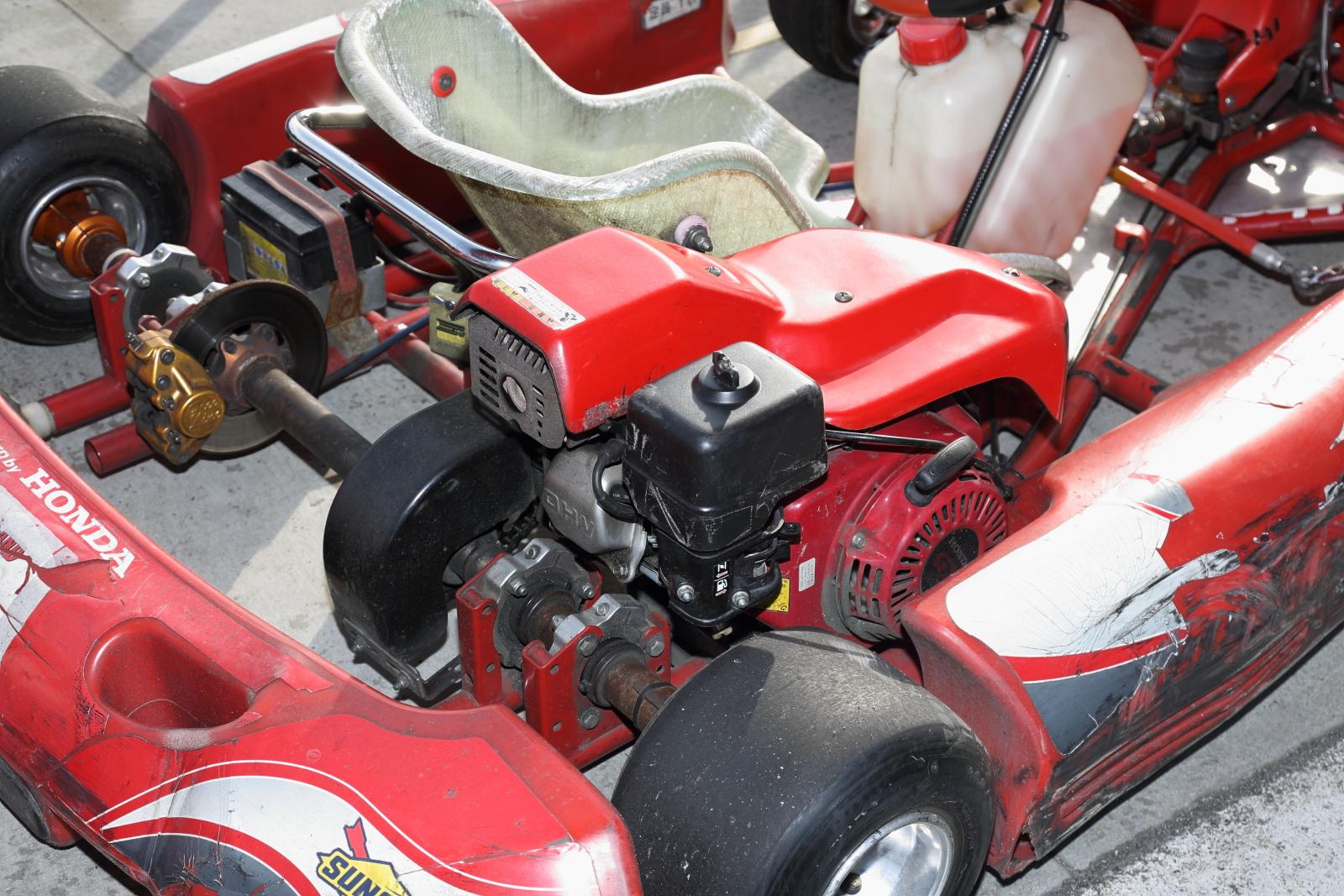 ツインリンクもてぎ内「モビパーク」にあるレーシングカートもホンダ汎用エンジン搭載車だ