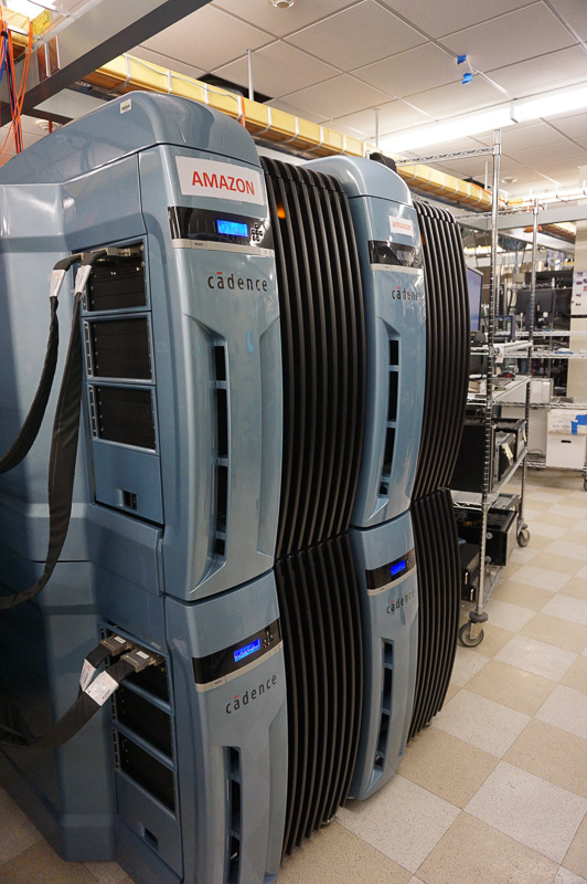 Cadence製のシミュレーションマシンにより半導体のシミュレーションを行う。内部でGPU、メモリ相当の機能がシミュレーションされている