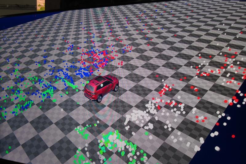 こちらは別の解析画面。色のついた点はオブジェクトが存在することを示し、色の違いはカメラの違いを表す。どのカメラで何が認識されているか分かる