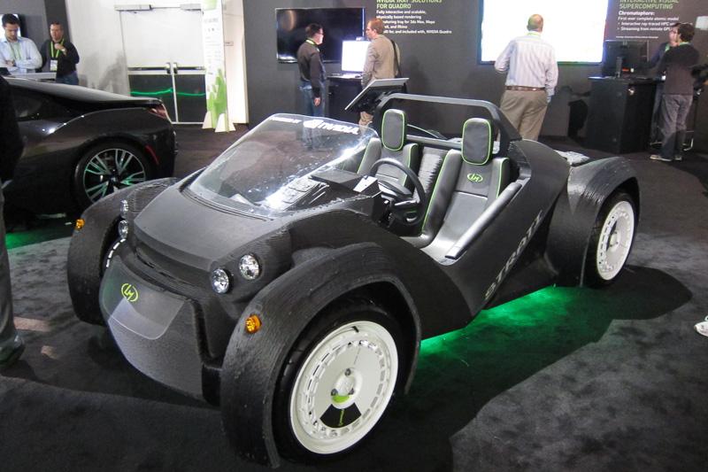 3Dプリンタで出力したクルマ。DRIVE CXによりデジタルメーターパネルが駆動される