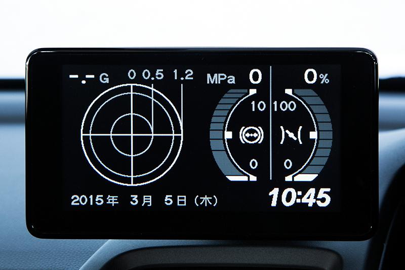 オプションのセンターディスプレイにはGメーターを表示可能