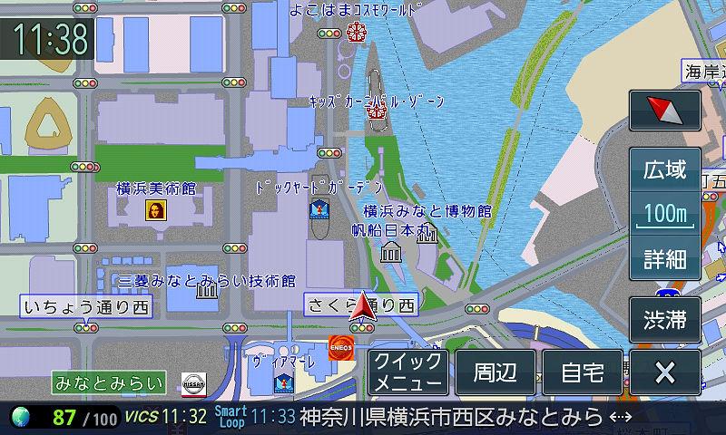 ナビゲーション時の基本といえる100mスケール。道幅の反映や家形表示など市街地図に準じた豊富な情報を表示する