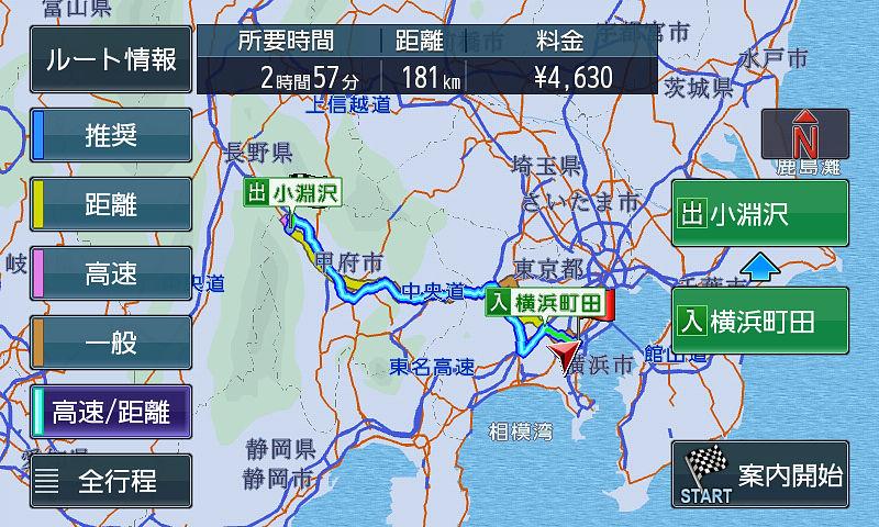高速/距離優先ルート。一見推奨と似たルートだが若干距離が伸びる変わりに高速料金が安くなっている