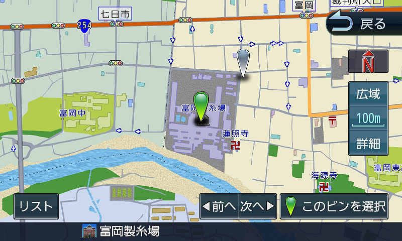 目的地の地図表示。100mスケールの一方通行表示がありがたい