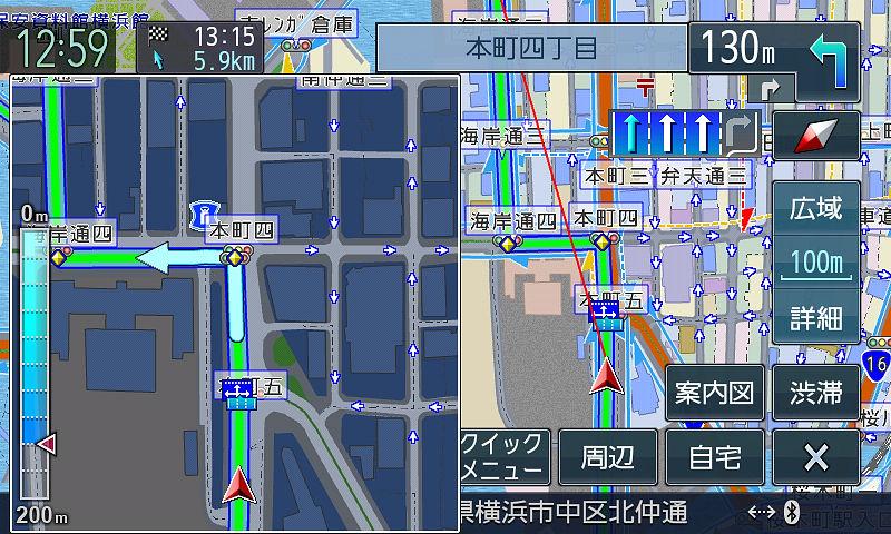 交差点では左側に拡大図を表示して案内