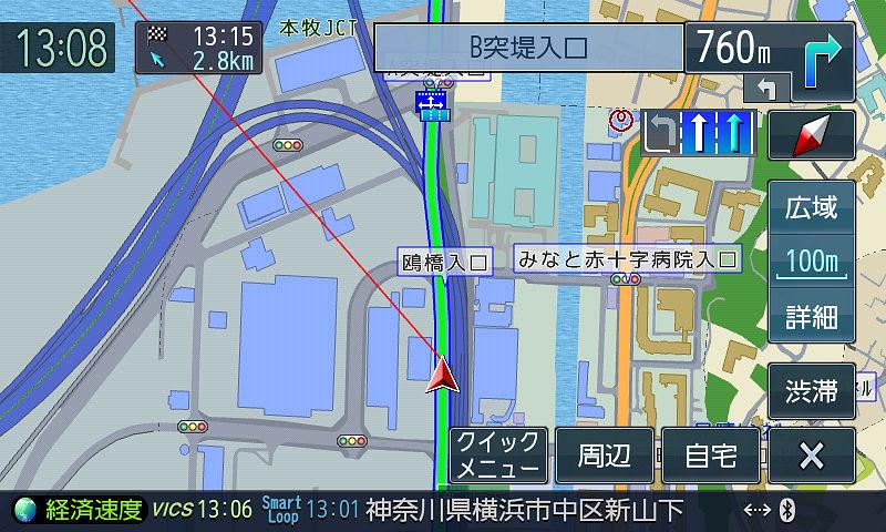 一般道と高速が並走する部分。入口から高速に入ってみたがすぐには認識できなかった