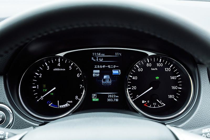 メーターまわり。左にタコメーター、右にスピードメーターをレイアウトし、その間にハイブリッドシステムのエネルギーの流れなどを表示する「アドバンスドドライブアシストディスプレイ」を配置