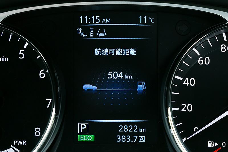 アドバンスドドライブアシストディスプレイ(5インチカラーディスプレイ)の表示例。水温計、燃費、航続可能距離といった情報に加え、エンジン走行中、モーター走行中、エンジン走行+モーター走行中、回生ブレーキでの充電中など、ハイブリッドシステムのエネルギーの流れが確認できる