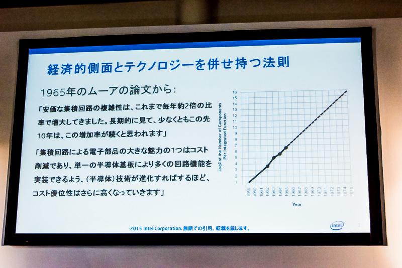 ムーアの法則は、経済的側面が強い。コスト優位性があるので、半導体メーカーは新しいテクノロジーに投資し、2年で性能が倍になるということを実現している