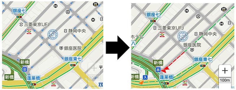 プローブ情報の対応に伴い、クルマが順調に走行している道路を緑色の点線で表示。さらに渋滞している道路は赤色の点線、混雑している道路はオレンジ色の点線でそれぞれ表示し、道路の状況がより分かりやすい仕様になっている