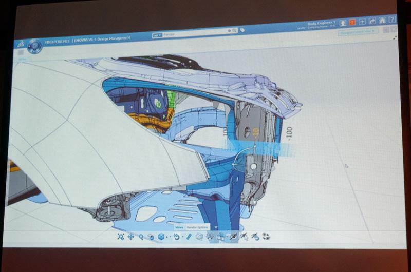3Dエクスペリエンス・プラットフォーム上で自動車の3D設計データを表示、編集中