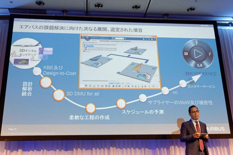 講演では航空機のパーツの1つについて、ENOVIA上で設計・検証・生産管理を行う様子をデモした