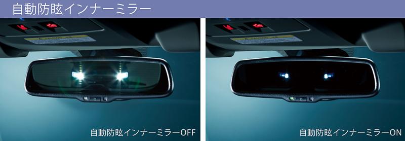 自動防眩インナーミラーにより後続車のヘッドライトを検知して自動的に眩しさを抑える
