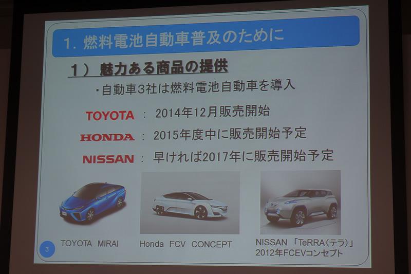 自動車メーカー3社のFCVの販売計画などについて