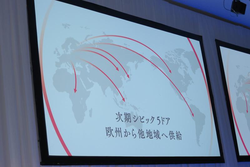 新しい5ドアのシビックはヨーロッパで生産され、他地域に供給される。供給先の矢印の1本は日本にも向いている
