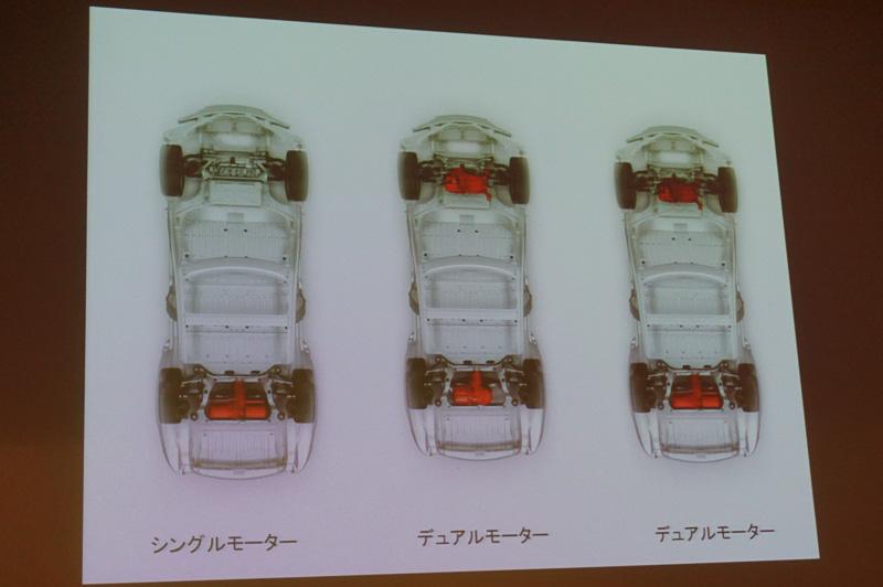 デュアルモーターAWDモデルの概念。前輪と後輪それぞれにモーターを設定した4WD車となる