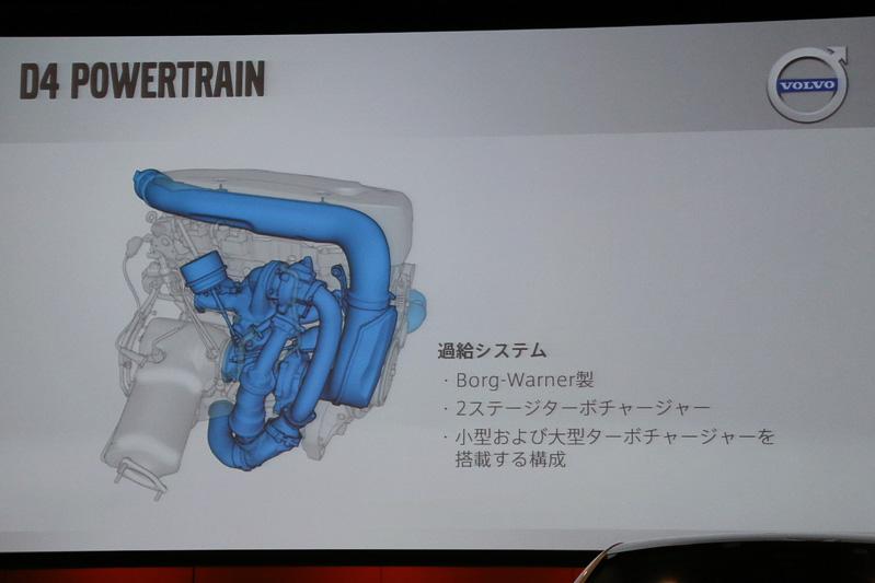 ボルグワーナー製の2ステージターボチャージャーは、大小2つのタービンを、エンジン回転などに合わせて切り換え、併用する