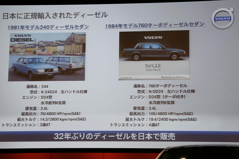ボルボのディーゼルエンジン搭載車は32年ぶりの日本上陸となる
