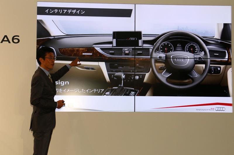 第7世代A6が評価されたポイントの再考察。外観デザインは特徴的な「シングルフレームグリル」でアウディ車であるとひと目で分かる部分を強調。インテリアのポイントは、デザイナーが日本の包丁や日本刀などのイメージからインスピレーションを受け、高いクオリティと洗練されたデザインを両立しているという