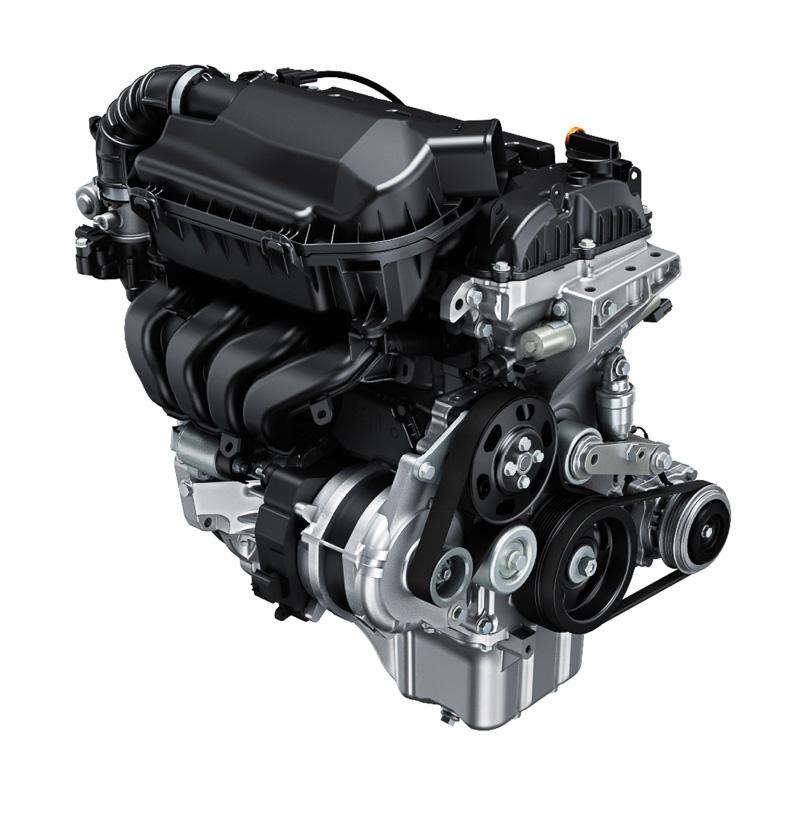 新開発の「K12C型」直列4気筒DOHC 1.2リッターエンジン。最高出力は67kW(91PS)/6000rpm、最大トルクは118Nm(12.0kgm)/4400rpm。マイルドハイブリッドで組み合わされるISGのWA05A型モーターは最高出力2.3kW(3.1PS)/1000rpm、最大トルク50Nm(5.1kgm)/100rpm