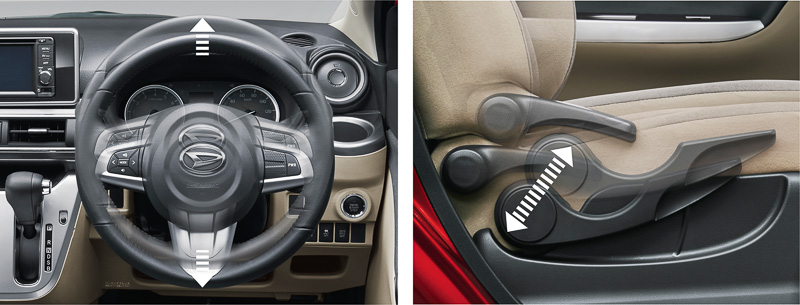 チルトステアリングと運転席シートリフターをセットにした「ドライビングサポートパック」はG系のグレードに標準装備。それ以外ではSRSサイドエアバッグなどとセットオプションとして選択できる