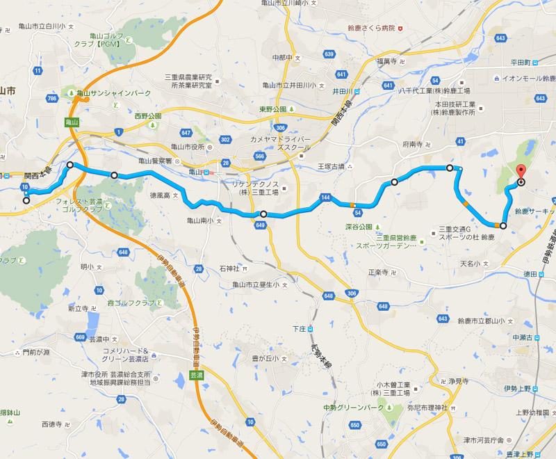 関ICから県道144号を抜け、国府町東、御園工業団地前と進むルート(Google Maps)