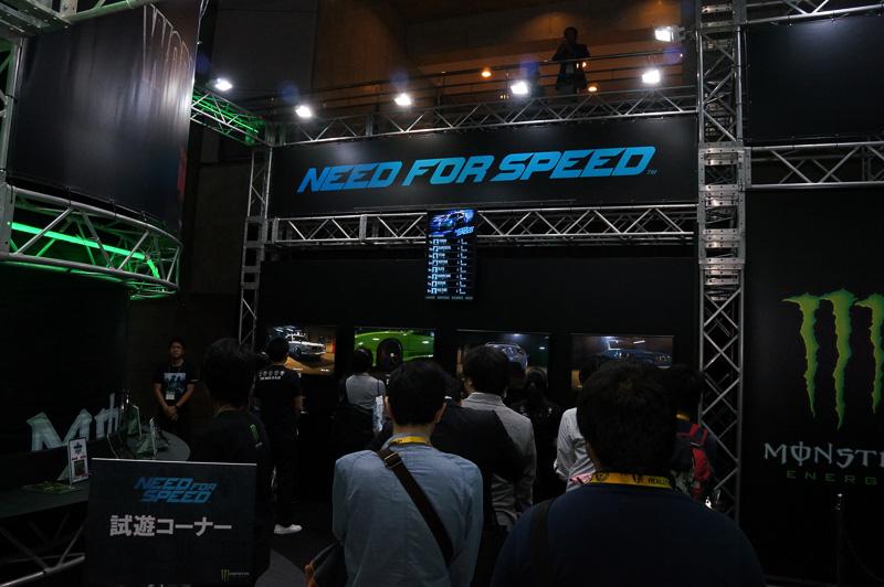 モンスターエナジーブースではニード・フォー・スピード最新作をプレイできる