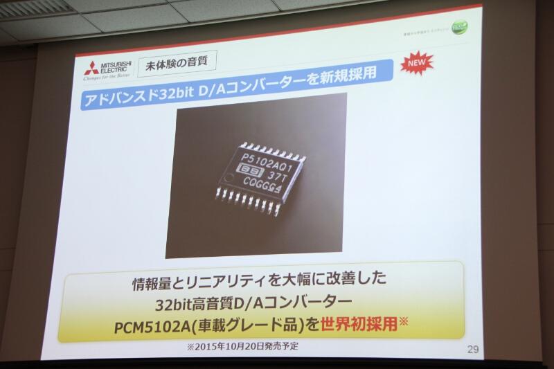 世界初採用という32bit D/Aコンバーター「PCM5102A(車載グレード)」