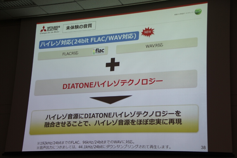 「FLAC」「WAV」などのハイレゾ音源に対応する