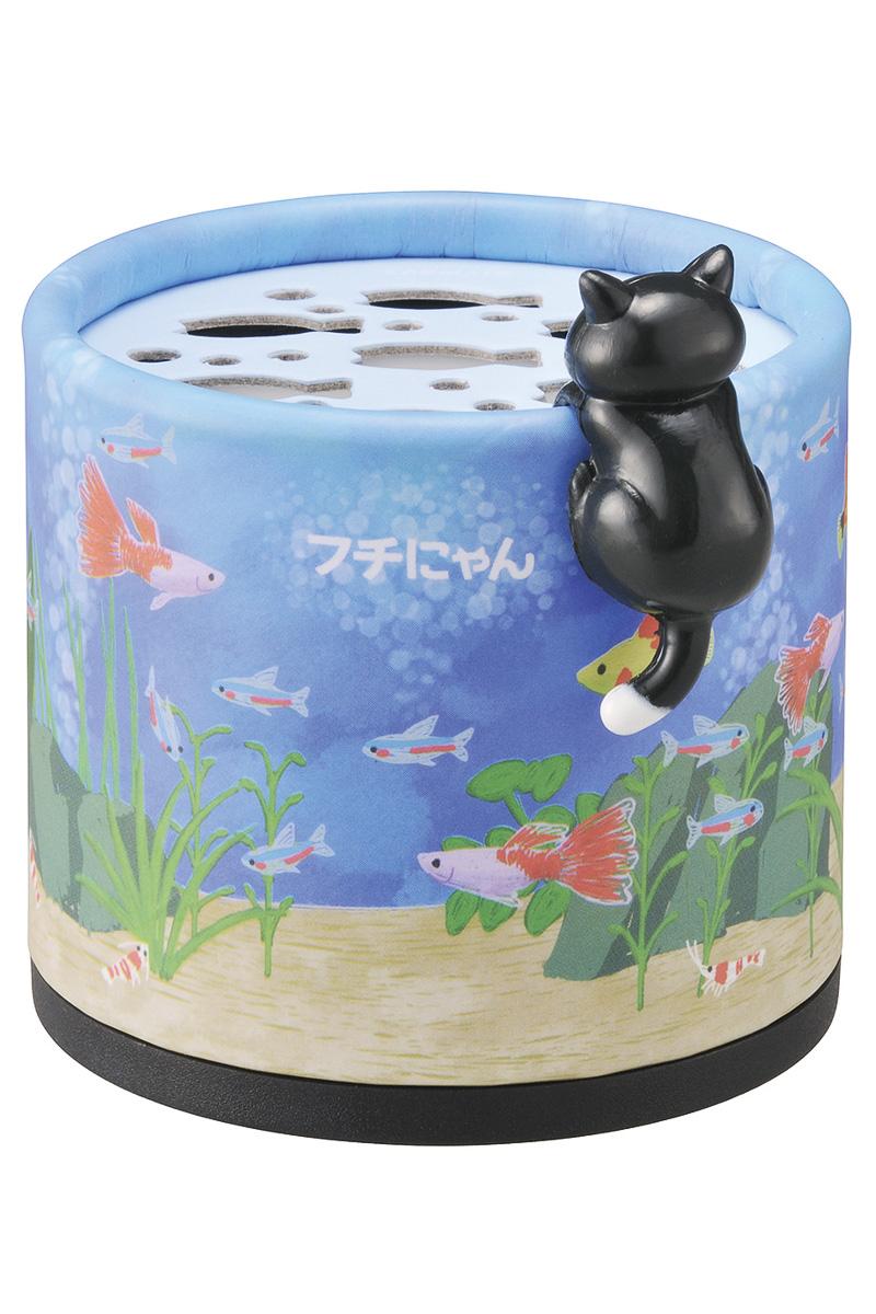 「水槽をのぞくいたずらクロシロフチにゃん」デザインは「さわやかなシャンプー」の香り