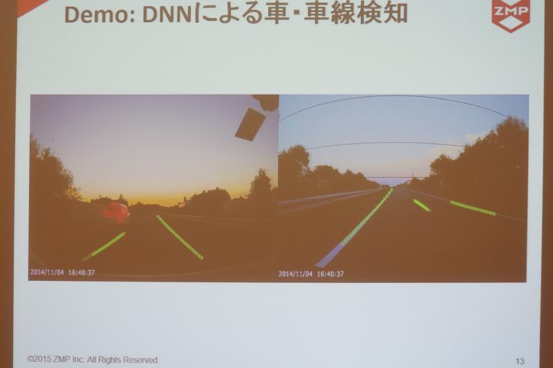 ディープラーニングによる車線検知の例