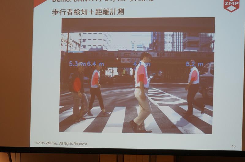 歩行者検知の例、距離も算出している