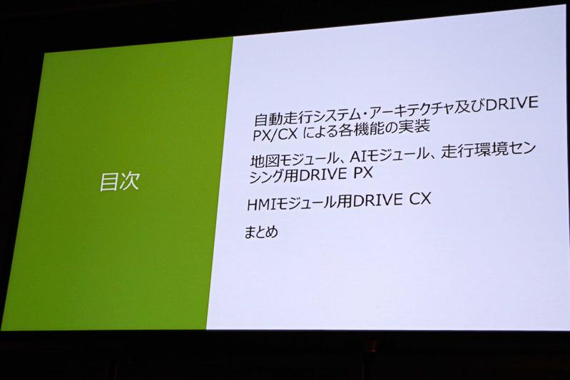 講演内容は「自動走行システム・アーキテクチャ及びDRIVE PX/CXによる各機能の実装」「地図モジュール、AIモジュール、走行環境センシング用DRIVE PX」「HMIモジュール用DRIVE/CX」の3点