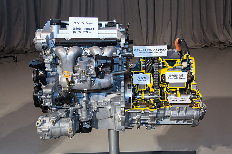 2代目プリウスのパワートレーン。エンジン出力、モーター出力とも向上しつつ燃費を低減してた
