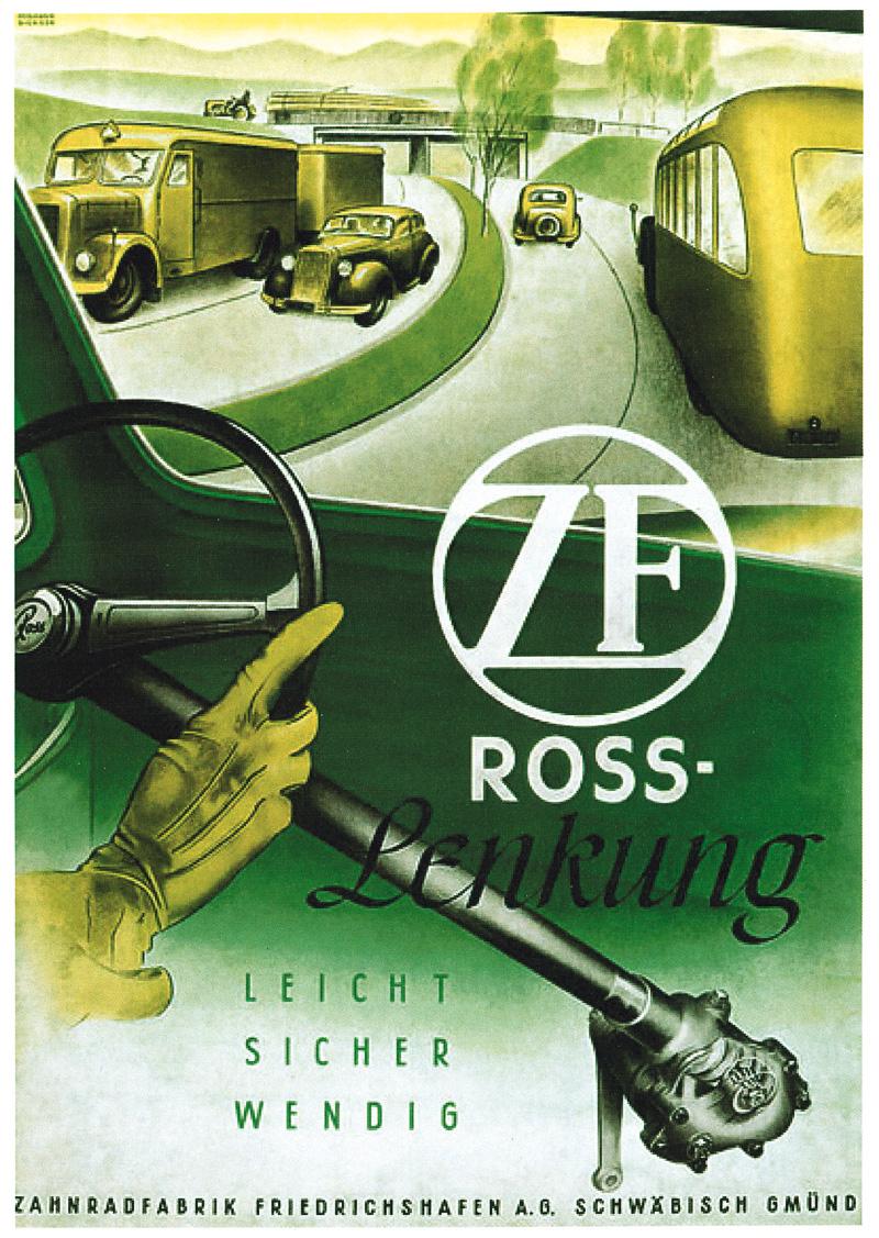 1930年代にはZFロス・ステアリングギヤのライセンス生産を開始。初年度から1万ユニットを販売した。この時代にはシフトチェンジが容易なアフォントランスミッションの開発にも成功している