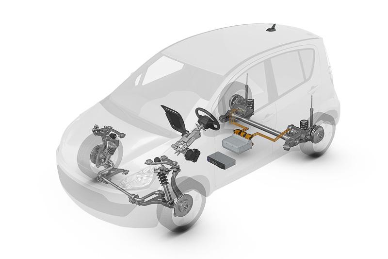 AUVの透視図。フロア下のメインバッテリーからリアタイヤ直近のモーターに電力を供給して走行。左右別々のモーターを使っているので、旋回時にアウト側の車輪だけを駆動して旋回性を高めることも可能になっている