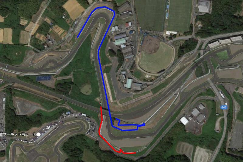 FP3は青ルート、予選は赤ルートで撮影する予定だった