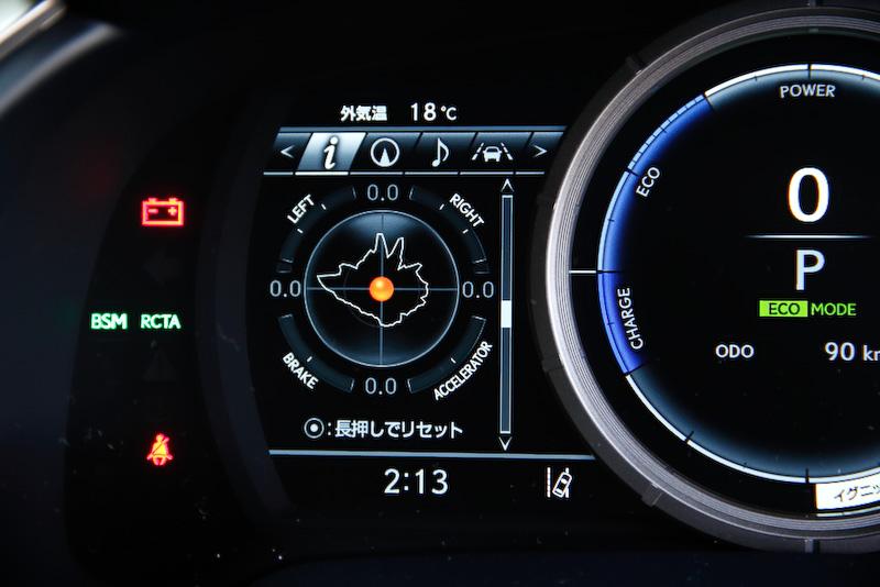 """""""F SPORT""""専用メーター。左側のマルチインフォメーションディスプレイにGモニター、油温計、油圧計を表示させることが可能になっている"""
