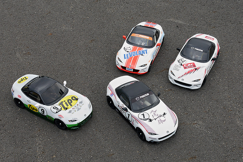 クルマ媒体で記念写真。4耐車と同じカラーリングで参加しているチームが多かった
