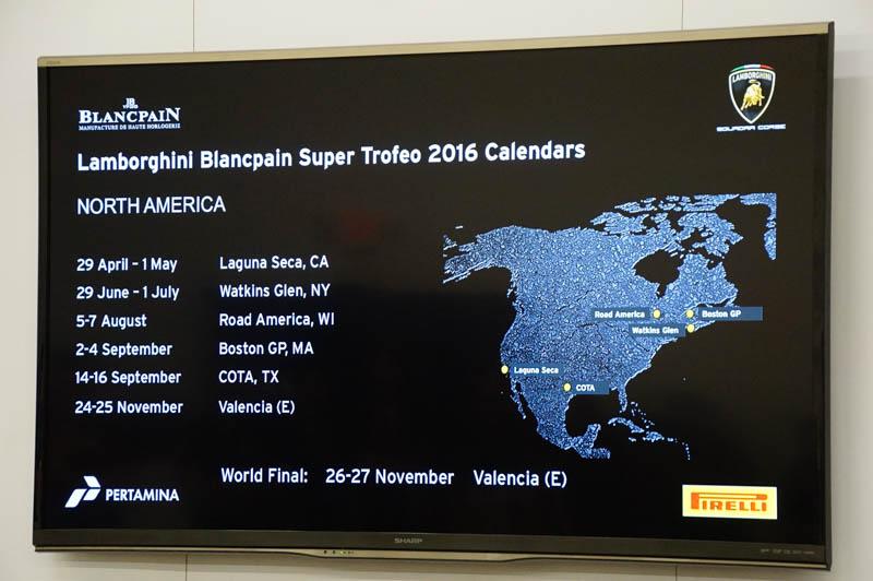 ブランパン・スーパートロフェオの2016年の北米での予定