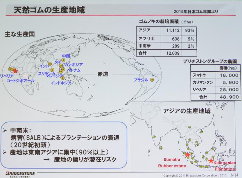 天然ゴムの生産地域