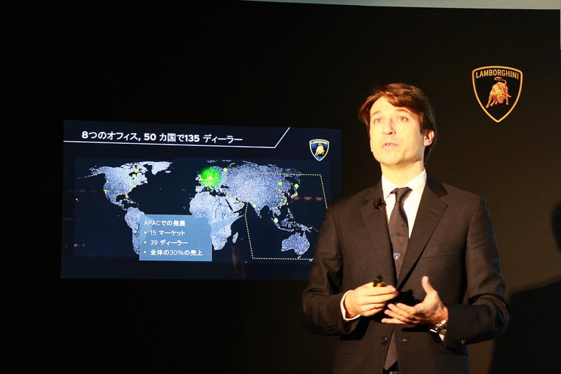 ランボルギーニのブランドコンセプトやディーラー網、売上推移などについて記されたプレゼンテーション
