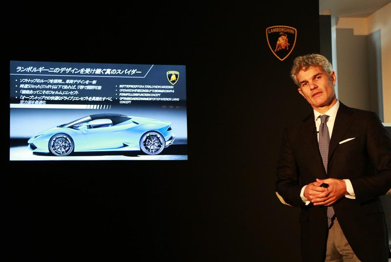 アウトモビリ・ランボルギーニ・ジャパン カントリー・マネージャー エジナルド・ベルトリ氏。フィアット・パワートレイン・テクノロジーズやコングスベルグ・オートモーティブ、インターバンプ・グループS.p.Aなどの世界規模の自動車メーカーで管理職を務め、2008年にランボルギーニ中国のカントリーマネージャーに、2011年1月から日本および韓国におけるカントリーマネージャーに就任。2014年10月からはオセアニア地域のカントリーマネージャーを兼務