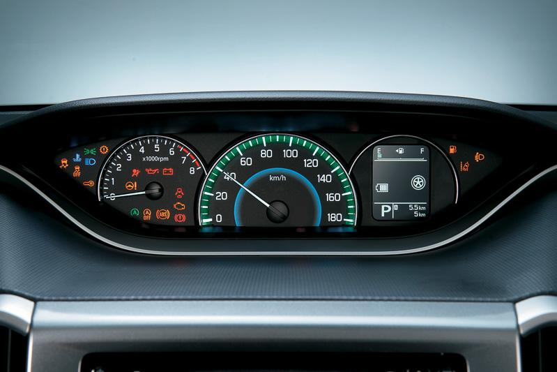 自発光式のメーターパネル。中央にあるスピードメーターの外周部分は燃費状態を示す「ステータスインフォメーションランプ」となっており、通常のブルーから燃費がよい状態ではグリーンに変化。回生発電中は白く発光する