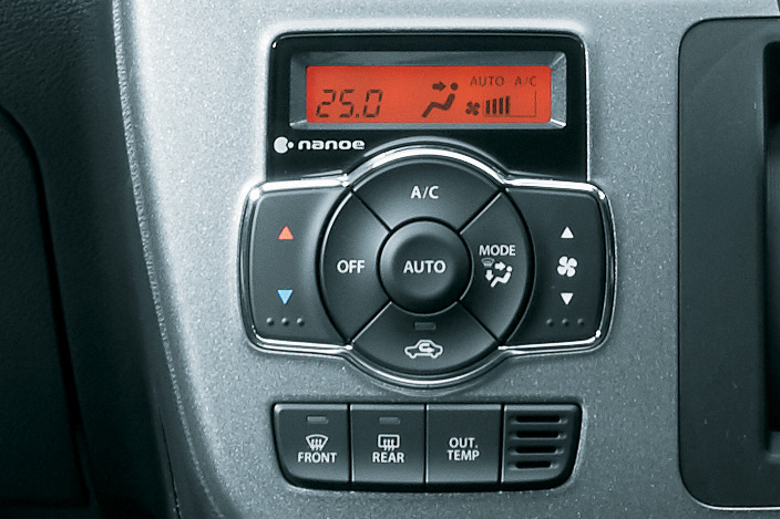 エアフィルター付きのフルオートエアコンを全車標準装備。MX以外のグレードは「ナノイー」搭載となる