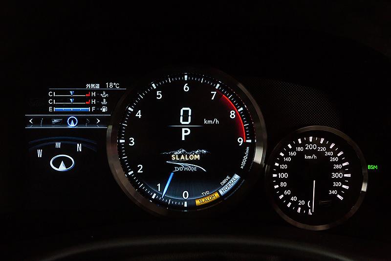 TVDのモードを選択したところ。左から軽快感と安定感をバランスさせた「スタンダード」、ステアリングレスポンスを重視した「スラローム」、高速サーキットでの安定性を重視した「サーキット」